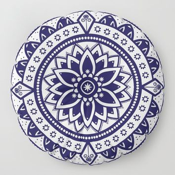 Blue & White Patterned Flower Mandala Design Floor Pillow by inspiredimages