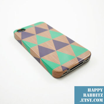 Geometric Triangle Mint Grey Wood iPhone 4 Case by happyrabbitz
