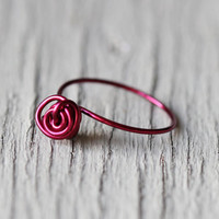 Knot Ring : Burgundy Pink Cluster Ring, Skinny Rings, Thin Rings, Midi Ring, First Knuckle