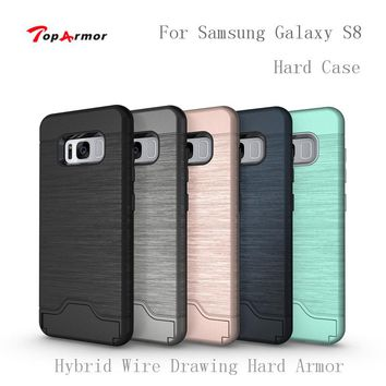 TopArmor Hybrid Wire Drawing Hard Armor Case Cover For Samsung Galaxy S8 G9500 With Stand Card Holder Mobile Phone Shell Fundas