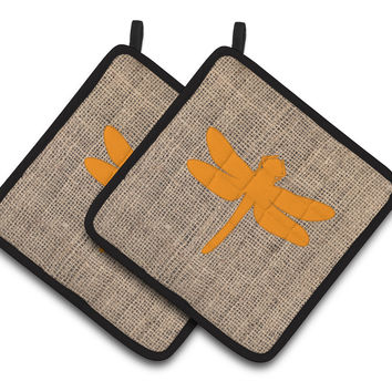 Dragonfly Faux Burlap and Orange   Pair of Pot Holders BB1062-BL-OR-PTHD
