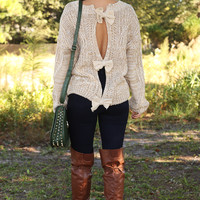 Top It With A Bow Sweater: Mocha/Ivory