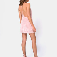 Finn Dress in Plush Fringe Sugar Pink by Motel
