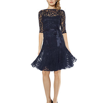 Teri Jon Lace Overlay Illusion Dress