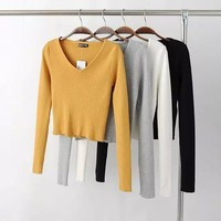 Winter V-neck High Waist Crop Top Knit Tops Bottoming Shirt [8173424967]
