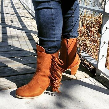 Women's Tan Mid-Calf Boot with Stacked Heel and Fringe Detail