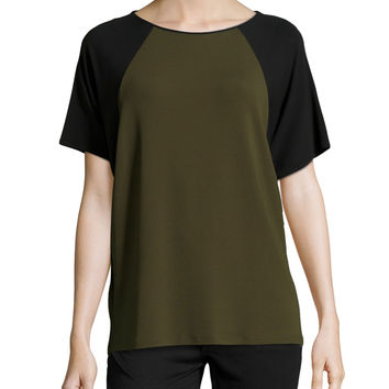 Women's Short-Sleeve Colorblock Top, Olive - Michael Kors - Olive (X-SMALL)