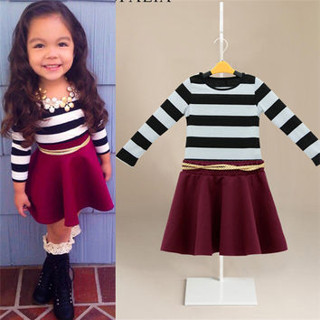 2-8Y New Kids Girls Clothing Sets Fashion Striped Tops Casual Long Sleeve T-shirts Baby Skirts NW