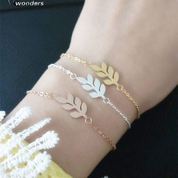 Minimalist Jewelry Best Friend Gift Stainless Steel Cute Simple Scratch Leaf Bracelet For Women Men Pulseras Mujer BFF silver