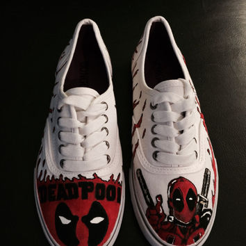 Hand painted Deadpool shoes