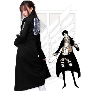 Cool Attack on Titan 2018 no  Levi Rivaille Jacket Cloak Adult Halloween cosplay costume  Windbreaker Black AT_90_11
