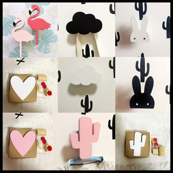Baby Child Kids Room Wooden Wall Hooks Decorative Door Holder Hanger Organizer For Kitchen Key Clothes Store Flamingo Bat Cactus