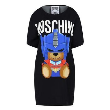"Hot Sale Moschino Black ""Transformers Bear"" Fashion Women T Shirt Loose Short Sleeves Dress"