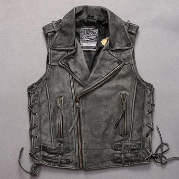 Vintage Distressed gray lapel Oblique zipper cowskin vests casual adjustable waist sleeveless slim leather jacket men small size