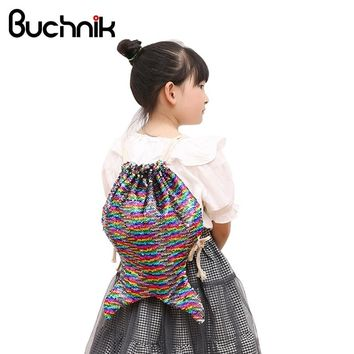 BUCHNIK Fashion Mermaid Sequin Backpacks Shoulder Reversible Women Girls Bling Shining Bag Glittering Drawstring Travel Pouch