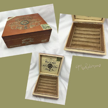 Custom Perdomo Cigar Box Jewelry Box, Ring, Stud Earring & Cuff Link Holder, Ring, Cufflink and Jewelry Display by Michelaneous