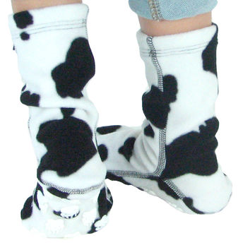 Kids' Nonskid Fleece Socks - Cow