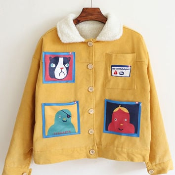 Yellow Long Sleeve Cartoon Pattern Crop Coat