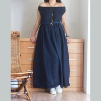 Off Shoulders Long Linen Dress in Navy Blue