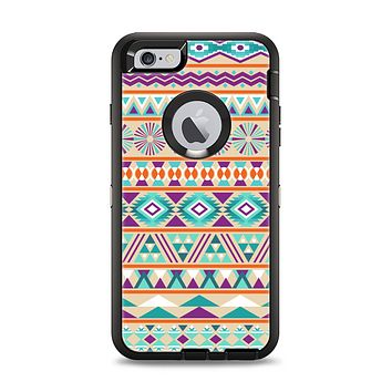 The Tan & Teal Aztec Pattern V4 Apple iPhone 6 Plus Otterbox Defender Case Skin Set