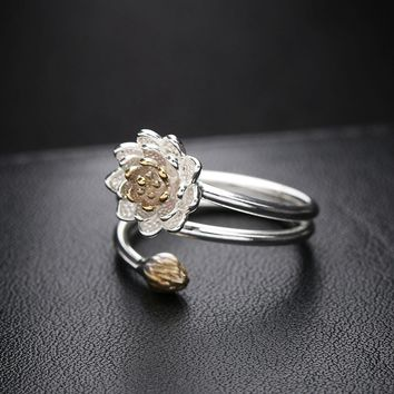 1PC Fashion Women Romantic Promise Lotus Flower Spiral Opening Silver Plated Ring Nice Jewelry Gift