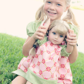 "MATCHING DRESS SET for girl and 18"" doll. Peasant style in pink and green. Simply Sweet... and ready to ship."