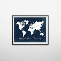 Printable Adventure Awaits World Map Poster, Navy Travel Quote Print, JPG File, Instant Download, Nursery Decor, Beach House Decor