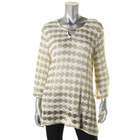 JM Collection Womens Knit Metallic Pullover Sweater