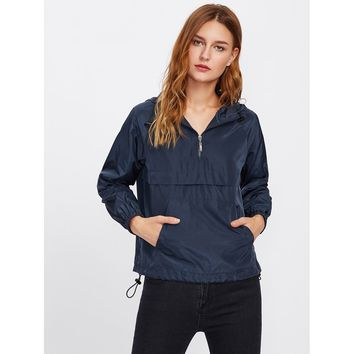 Pocket Front Drawstring Hem Hooded Windbreaker Pullover