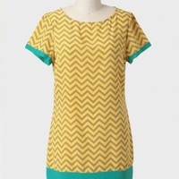modern chevron shift dress in yellow at ShopRuche.com