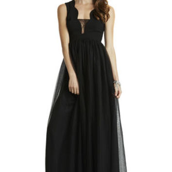 Scalloped Bodice Tulle Gown in Black - BCBGeneration