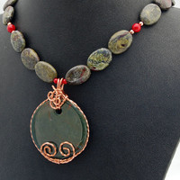 Dragon Blood Jasper Copper & Coral Necklace - Pendant - Copper Wire Wrap - Statement - Red - Green - Handmade - Original