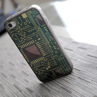 Metallic Computer Chip Custom iPhone 4 or 4s Silicone Case - unique iphone cases, back to school, tech lover, geekery