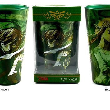 Xbox / PS4 / The Legend of Zelda (LoZ) OFFICIAL Yong Link and Princess Green Pint Glass, 16 OZ