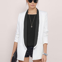 Long Sleeve Color Block One Button Office Blazer - NOVASHE.com