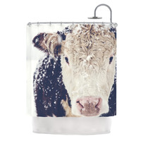 "Debbra Obertanec ""Snowy Cow"" Black White Shower Curtain"