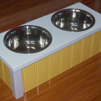 Elevated Dog Bowls. Raised Pet Feeder, Choose any Color, Cottage Chic Dog Bowl, Comes with 2 Stainless Steel Bowls, Hand Made in the USA!