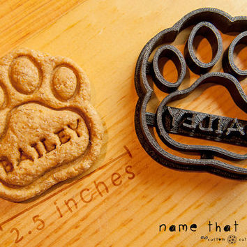 Dog Paw Cookie Cutter Custom Treat Personalized Pet Medium