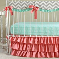 Bumperless Sweet Sorbet Chevron Custom Crib Bedding