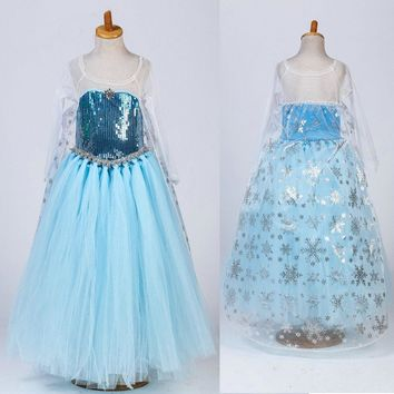 Fashion high quality sequined princess elsa dress tutu style snowflake costume for girls