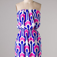 Pattern Play Dress - Pink and Blue - Hazel & Olive