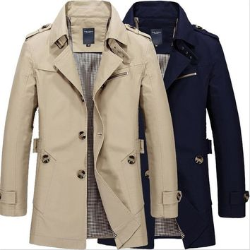 Men Jacket Autumn Winter Long Section Fashion Casual Solid Trench Coat Jaqueta Masculina Veste Homme Military Jacket Outwear 5XL