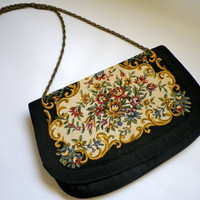 Vintage Walborg Floral Embroidered Tapestry Clutch // Small Black Purse with Elegant Embroidery