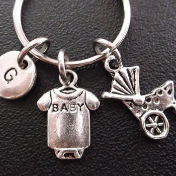 Baby Onesuits and stroller keyring, keychain, bag charm, purse charm, monogram personalized item No.269