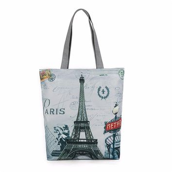 Large Capacity Women Canvas Handbag Zipper Shopping Shoulder Bag Paris Eiffel Tower Pattern Girls Beach Bookbag Casual Tote hot