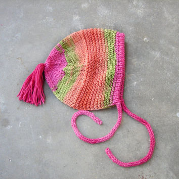 Colorful baby bonnet in cotton, fuchsia, orange and green shades, choose your size