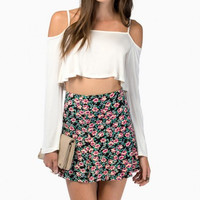 White Long Sleeve Spaghetti Strap Off- Shoulder Crop Top