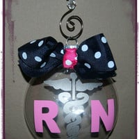 RN personalized Christmas Ornament Pink Blue Registered Nurse Ornament