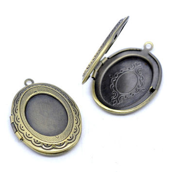 DoreenBeads Antique Bronze Picture /Photo Oval Locket Frame Pendants 34x24mm,1 pc