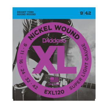 D'Addario EXL120-3D Nickel Wound Electric Guitar Strings, Super Light, 09-42, 3-Pack